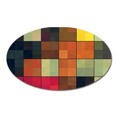 Background With Color Layered Tiling Oval Magnet by Simbadda