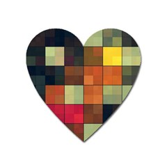 Background With Color Layered Tiling Heart Magnet by Simbadda