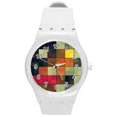 Background With Color Layered Tiling Round Plastic Sport Watch (m) by Simbadda