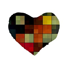 Background With Color Layered Tiling Standard 16  Premium Heart Shape Cushions by Simbadda
