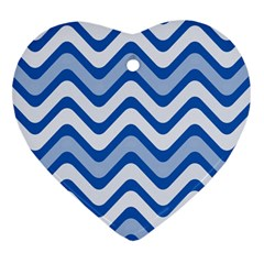 Background Of Blue Wavy Lines Heart Ornament (two Sides) by Simbadda