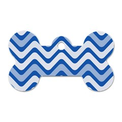 Background Of Blue Wavy Lines Dog Tag Bone (two Sides) by Simbadda