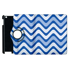 Background Of Blue Wavy Lines Apple Ipad 3/4 Flip 360 Case by Simbadda