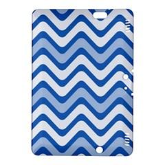 Background Of Blue Wavy Lines Kindle Fire Hdx 8 9  Hardshell Case by Simbadda