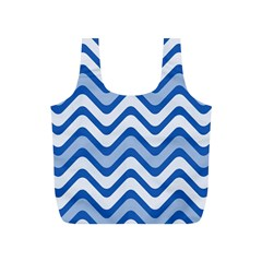 Background Of Blue Wavy Lines Full Print Recycle Bags (s)  by Simbadda