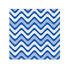 Background Of Blue Wavy Lines Small Satin Scarf (square) by Simbadda