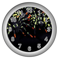Colorful Spiders For Your Dark Halloween Projects Wall Clocks (silver)  by Simbadda