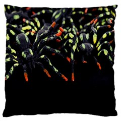 Colorful Spiders For Your Dark Halloween Projects Large Flano Cushion Case (one Side) by Simbadda