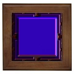 Blue Fractal Square Button Framed Tiles by Simbadda