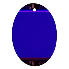 Blue Fractal Square Button Ornament (oval) by Simbadda