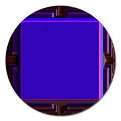 Blue Fractal Square Button Magnet 5  (Round) by Simbadda