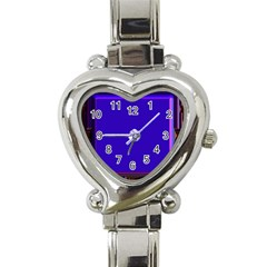 Blue Fractal Square Button Heart Italian Charm Watch by Simbadda