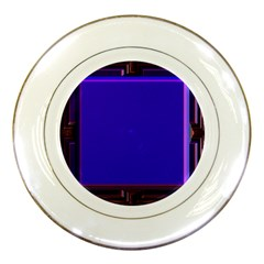 Blue Fractal Square Button Porcelain Plates by Simbadda