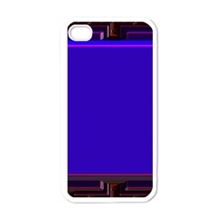 Blue Fractal Square Button Apple Iphone 4 Case (white) by Simbadda