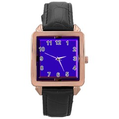 Blue Fractal Square Button Rose Gold Leather Watch  by Simbadda
