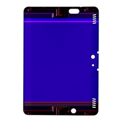 Blue Fractal Square Button Kindle Fire Hdx 8 9  Hardshell Case by Simbadda