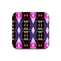 Geometric Abstract Background Art Rubber Square Coaster (4 Pack)  by Simbadda