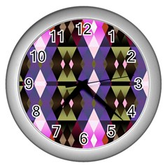 Geometric Abstract Background Art Wall Clocks (silver)  by Simbadda