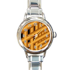 Fractal Background With Gold Pipes Round Italian Charm Watch by Simbadda