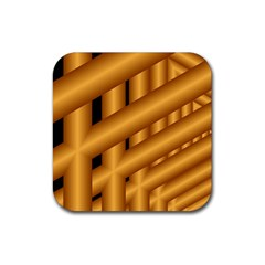 Fractal Background With Gold Pipes Rubber Coaster (square)  by Simbadda