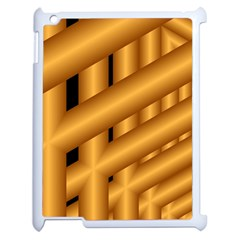 Fractal Background With Gold Pipes Apple Ipad 2 Case (white) by Simbadda