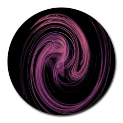 A Pink Purple Swirl Fractal And Flame Style Round Mousepads by Simbadda