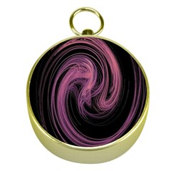 A Pink Purple Swirl Fractal And Flame Style Gold Compasses by Simbadda