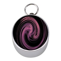 A Pink Purple Swirl Fractal And Flame Style Mini Silver Compasses by Simbadda