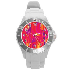 Pattern Round Plastic Sport Watch (l) by Valentinaart