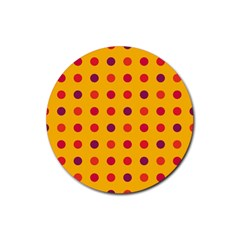 Polka dots  Rubber Coaster (Round)