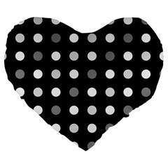 Polka Dots  Large 19  Premium Heart Shape Cushions by Valentinaart