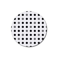 Polka Dots  Rubber Coaster (round)  by Valentinaart