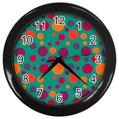 Polka Dots Wall Clocks (black) by Valentinaart