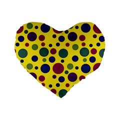 Polka Dots Standard 16  Premium Heart Shape Cushions by Valentinaart