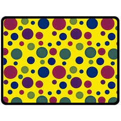 Polka Dots Double Sided Fleece Blanket (large)  by Valentinaart
