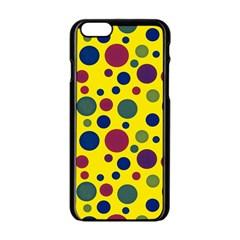 Polka Dots Apple Iphone 6/6s Black Enamel Case by Valentinaart