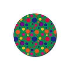 Polka Dots Rubber Round Coaster (4 Pack)  by Valentinaart