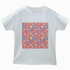 Polka Dots Kids White T Shirts by Valentinaart