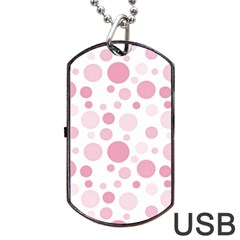 Polka Dots Dog Tag Usb Flash (two Sides) by Valentinaart