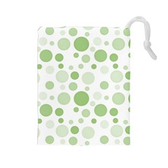 Polka Dots Drawstring Pouches (large)  by Valentinaart