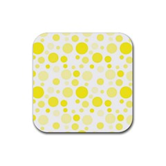 Polka Dots Rubber Square Coaster (4 Pack)  by Valentinaart