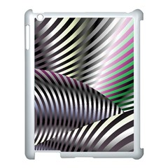 Fractal Zebra Pattern Apple iPad 3/4 Case (White) by Simbadda