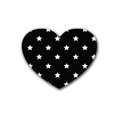 Stars Pattern Rubber Coaster (heart)  by Valentinaart