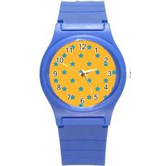 Stars Pattern Round Plastic Sport Watch (s) by Valentinaart