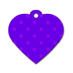 Stars Pattern Dog Tag Heart (one Side) by Valentinaart