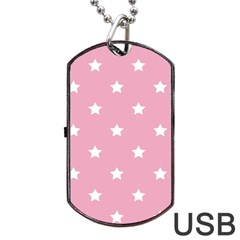 Stars Pattern Dog Tag Usb Flash (two Sides) by Valentinaart