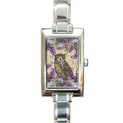 Vintage Owl And Lilac Rectangle Italian Charm Watch by Valentinaart