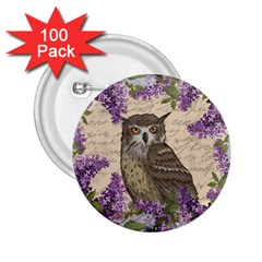 Vintage Owl And Lilac 2 25  Buttons (100 Pack)  by Valentinaart