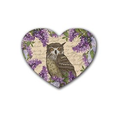 Vintage Owl And Lilac Rubber Coaster (heart)  by Valentinaart