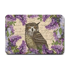 Vintage Owl And Lilac Small Doormat  by Valentinaart
